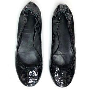 Tory Burch Black Patent Shiny Reva Flats